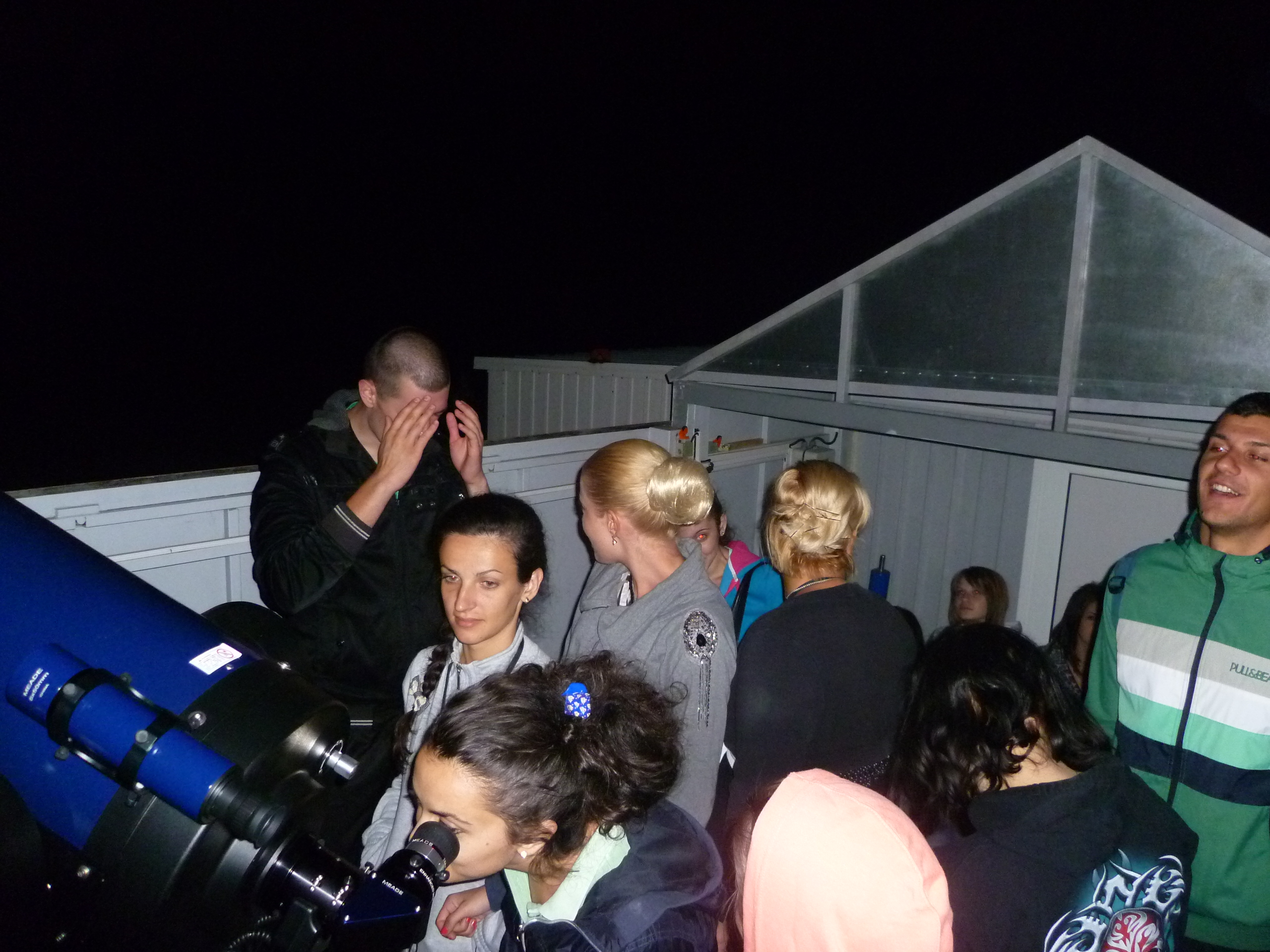 NAO Rozhen, July 2012. Students at small telescope