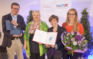 "National Teaching Award ""Ars Docendi"" 2015 for the social sciences and humanities. Team from left to right: Maximilian Fochler, Ulrike Felt, Dorothea Born, Anna Pichelstorfer"