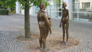 """Women in Bronze"", Art museum (Konsthallen), Växjö Its display of one anorectic and one obese woman is a demonstration against modern society's obsession with how we look."