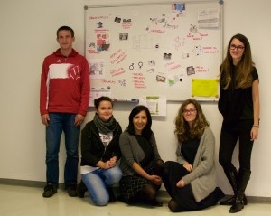 "MA Student group working on one of the case studies ""HPV vaccine controversy"""