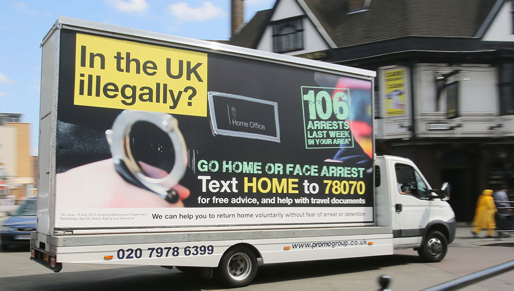 Figure 1: The UK government's 'Go Home' van. Courtesy of Rick Findler (www.rickfindler.photoshelter.com)