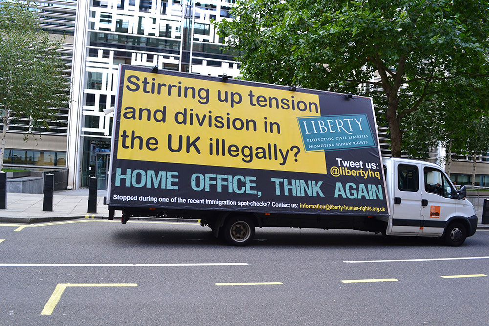 Figure 2: Liberty's response to the 'Go Home' vans. Courtesy of Liberty (www.liberty-human-rights.org.uk/)