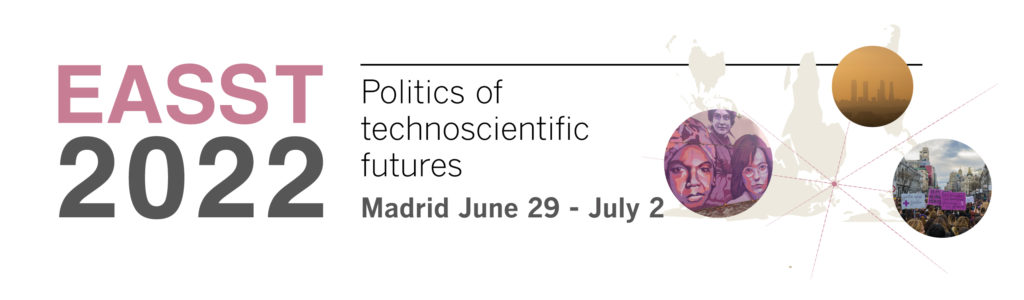 """EASST2022 conference logo with title """"Politics of technoscientific futures"""""""